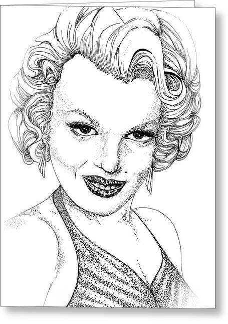 Ink Greeting Cards - Marilyn Monroe -Stipple Greeting Card by Linda Simon