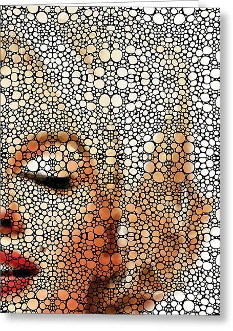 Portrait Digital Art Greeting Cards - Marilyn Monroe - Stone Rockd Art Painting Greeting Card by Sharon Cummings