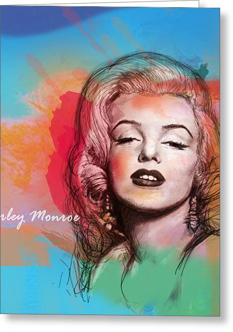 1950s Music Greeting Cards - Marilyn Monroe stylised pop art drawing sketch poster Greeting Card by Kim Wang