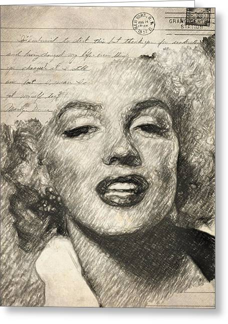 Blonde Mixed Media Greeting Cards - Marilyn Monroe Greeting Card by Taylan Soyturk