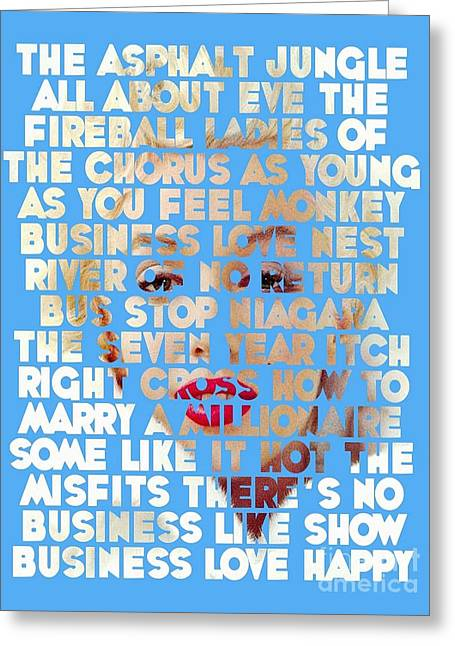 Norma Jean Baker Greeting Cards - Marilyn Monroe - The Movies Greeting Card by Spencer McKain