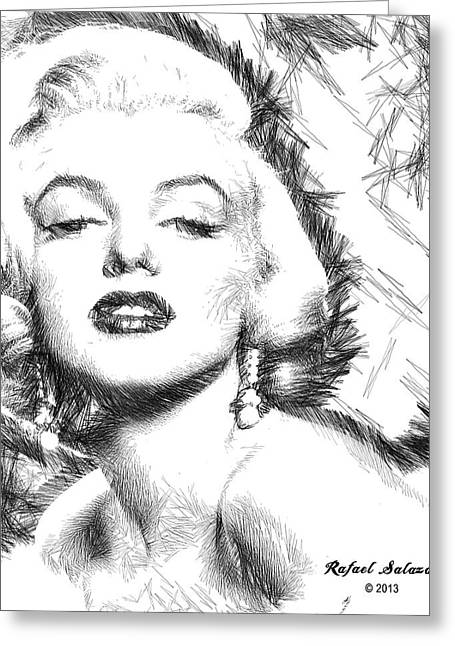 Ink Drawing Greeting Cards - Marilyn Monroe - The One and Only  Greeting Card by Rafael Salazar