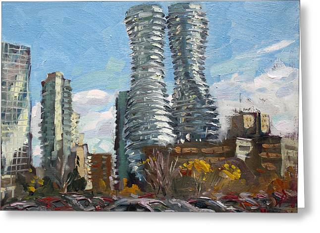 Monroe Greeting Cards - Marilyn Monroe towers in Mississauga Greeting Card by Ylli Haruni