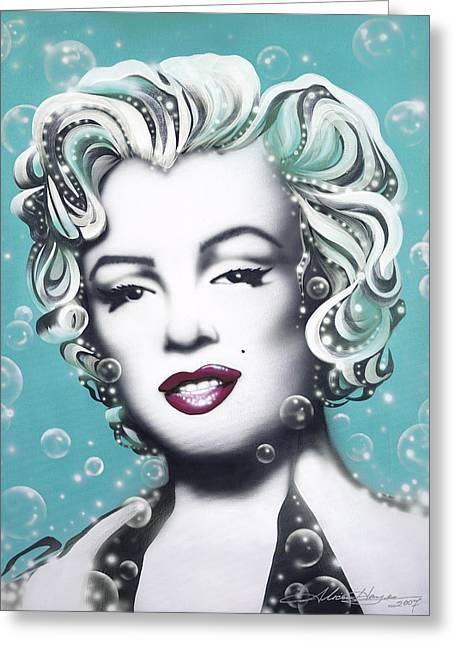 Famous Actress Greeting Cards - Marilyn Monroe Turquoise Greeting Card by Alicia Hayes