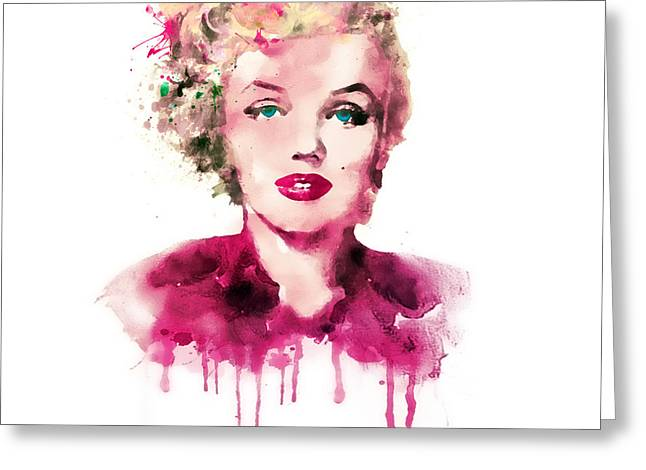 American Pop Culture Greeting Cards - Marilyn Monroe watercolor Greeting Card by Marian Voicu