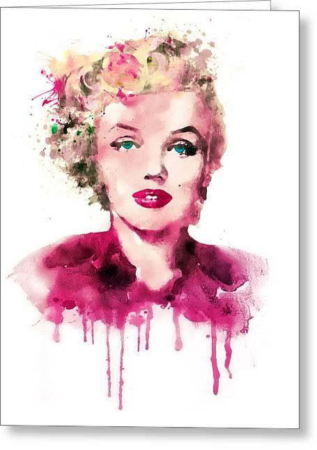 Fine Art Digital Art Greeting Cards - Marilyn Monroe watercolor Greeting Card by Marian Voicu