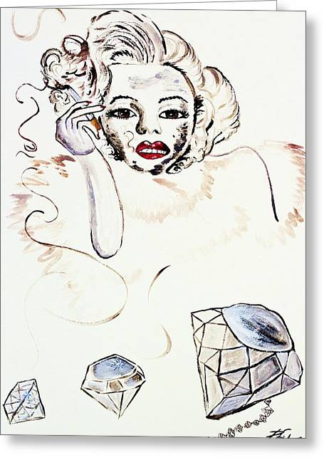 Jewelry Collections Posters Greeting Cards - Marilyn Monroe with Diamonds Are a Girls Best friend Greeting Card by Angela Pari  Dominic Chumroo