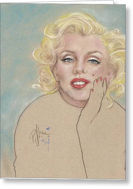 Marilyn On Blue Greeting Card by P J Lewis