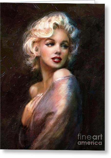 Portraits Oil Greeting Cards - Marilyn romantic WW 1 Greeting Card by Theo Danella
