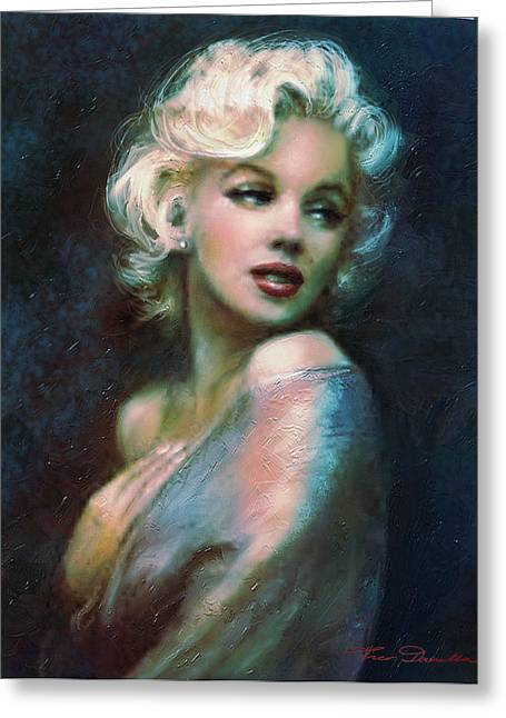 Marilin Greeting Cards - Marilyn romantic WW 4 blue Greeting Card by Theo Danella