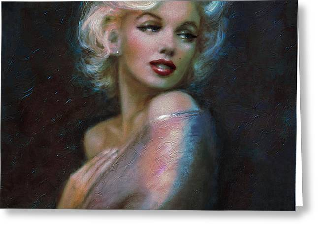 Marilyn romantic WW dark blue Greeting Card by Theo Danella