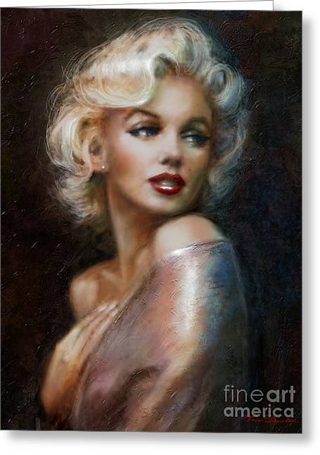 Masterpiece Paintings Greeting Cards - Marilyn WW soft Greeting Card by Theo Danella
