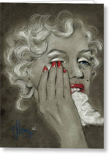Woman Crying Greeting Cards - Marilyns tears Greeting Card by P J Lewis