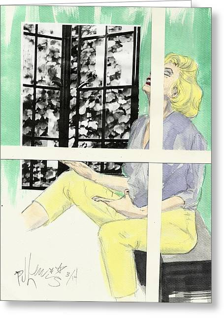 Figure Drawing Mixed Media Greeting Cards - Marilyns two windows Greeting Card by P J Lewis