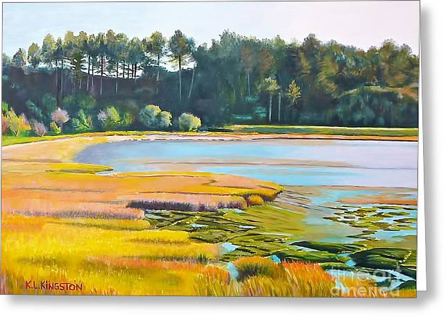 Kingston Paintings Greeting Cards - Marin County marsh Greeting Card by K L Kingston