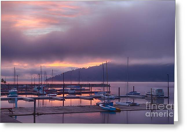 North Idaho Greeting Cards - Marina Aglow Greeting Card by Idaho Scenic Images Linda Lantzy