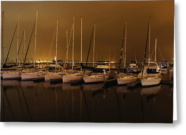 Best Sellers -  - Boats In Reflecting Water Greeting Cards - Marina at Night Greeting Card by Jenny Hudson