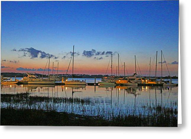 Beach At Night Greeting Cards - Marina at Night Greeting Card by Laura Angermeier