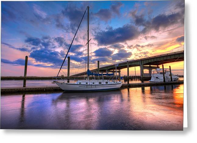 Docked Sailboats Greeting Cards - Marina at Sunset Greeting Card by Debra and Dave Vanderlaan