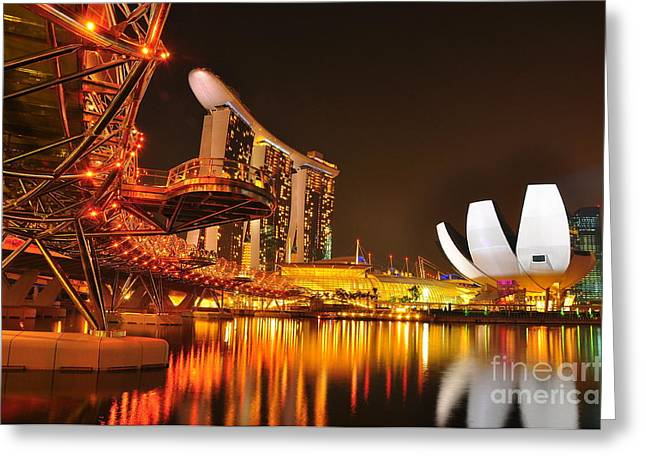Recently Sold -  - Helix Greeting Cards - Singapore Cityscape at Marina Bay Sands Greeting Card by Mu Yee Ting