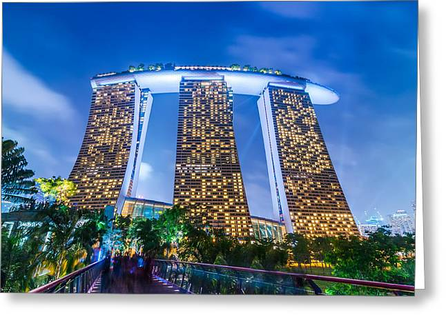 Buildings By The Sea Greeting Cards - Marina Bay Sands Resort Hotel in Singapore Greeting Card by Perfect Lazybones