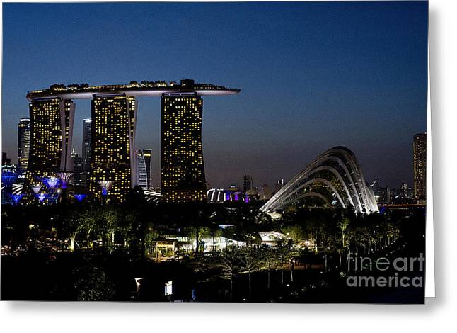Editorial Greeting Cards - Marina Bay Skyline Greeting Card by Ivy Ho