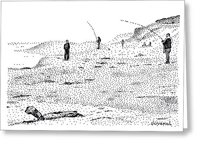 Pointillist Drawings Greeting Cards - Marina Beach Fishermen Greeting Card by Joseph Juvenal