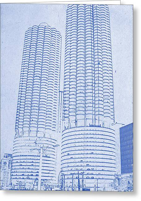 Chicago Skyline Mixed Media Greeting Cards - Marina City from across the river Chicago Illinois Blueprint Greeting Card by MotionAge Designs