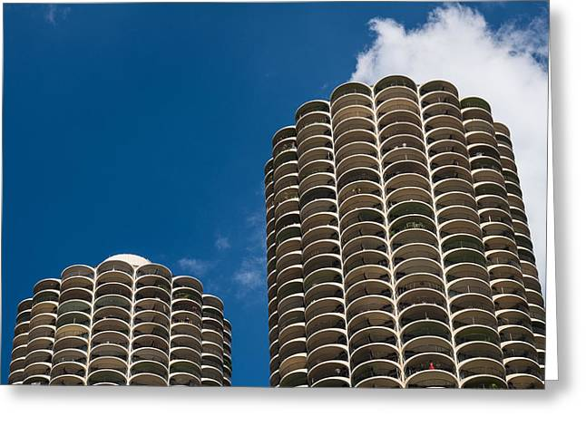 Historic Architecture Photographs Greeting Cards - Marina City Morning Greeting Card by Steve Gadomski
