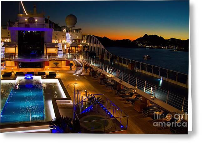 Pool Deck Greeting Cards - Marina cruise ship pool deck at dusk Greeting Card by David Smith