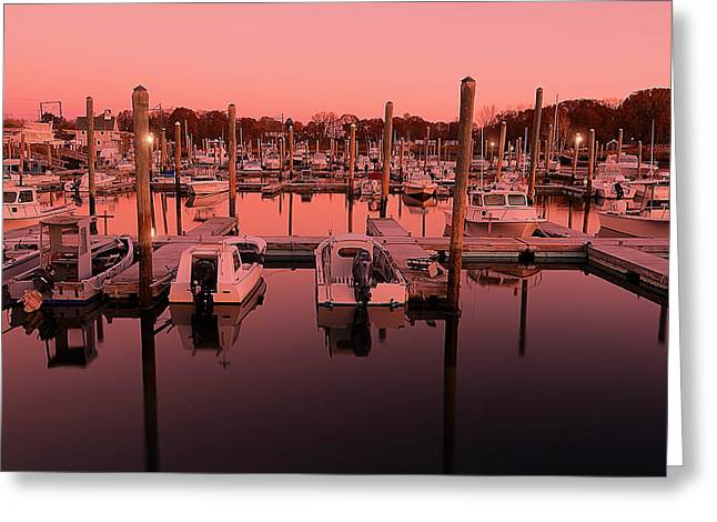 New England Ocean Greeting Cards - Marina Golden Hour Greeting Card by Lourry Legarde
