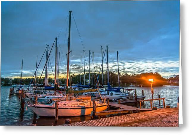 Docked Sailboats Greeting Cards - Marina Light Greeting Card by Brian Wallace