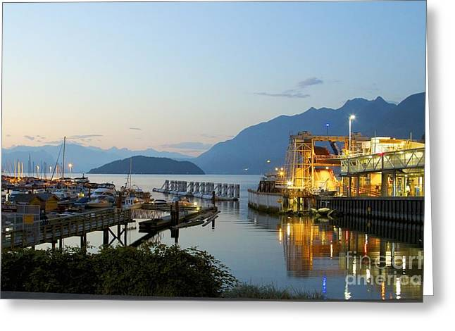 Roadway Greeting Cards - Marina Lights Greeting Card by Alanna Dumonceaux