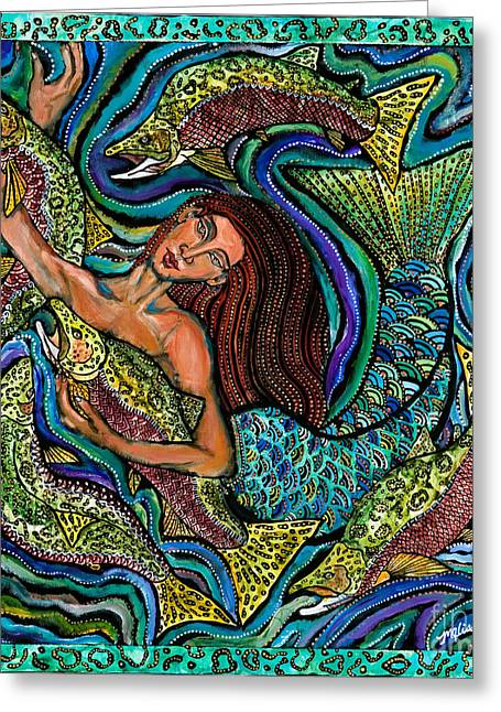 Salmon Paintings Greeting Cards - Marina Greeting Card by Melissa Cole