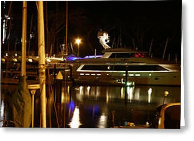 San Francisco Bay Pyrography Greeting Cards - Marina Nights Greeting Card by Pobby Heglar