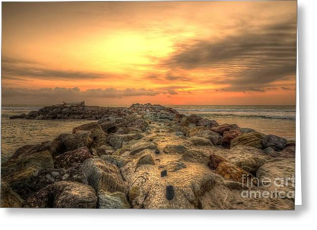 Marina Park Beach Sunset Greeting Card by Eddie Yerkish