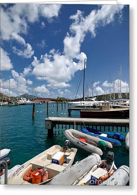 Docks Greeting Cards - Marina St Thomas Virgin Islands Greeting Card by Amy Cicconi