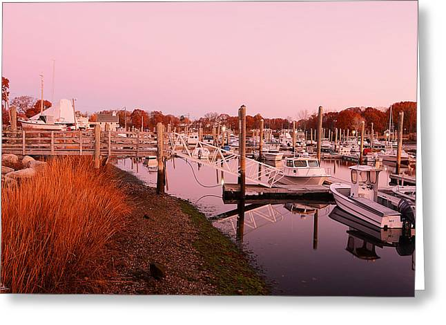 Facility Greeting Cards - Marina Sunrise Greeting Card by Lourry Legarde