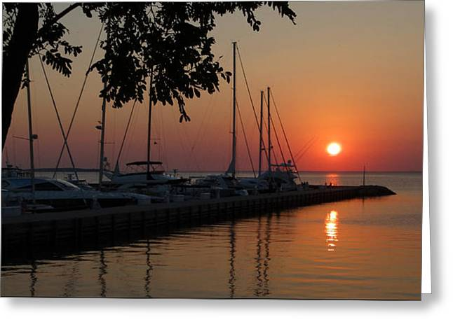 Docked Boat Greeting Cards - Marina Sunset Greeting Card by David T Wilkinson
