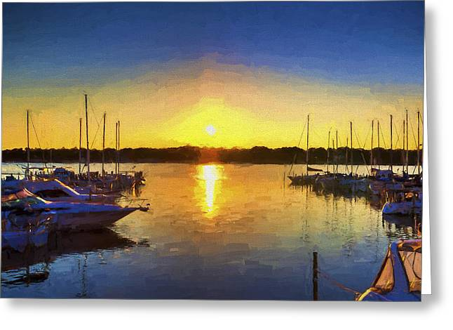 Boats In Reflecting Water Paintings Greeting Cards - Marina Sunset Greeting Card by Five Star Photographics