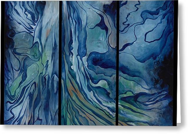 Aquamarin Greeting Cards - Marina Triptych Greeting Card by Lyn Pacificar