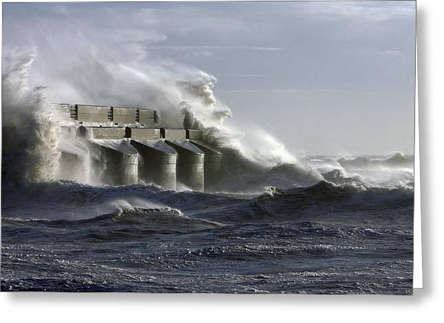 """storm Prints"" Greeting Cards - Marina Waves Greeting Card by Barry Goble"