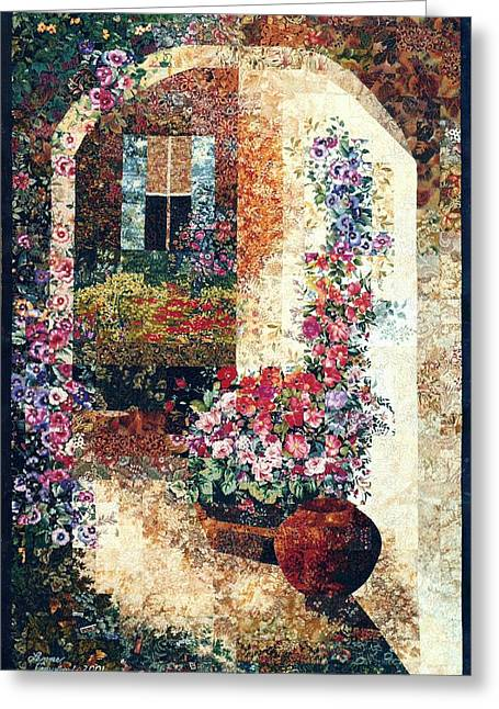 France Tapestries - Textiles Greeting Cards - Marinas Garden Greeting Card by Lenore Crawford