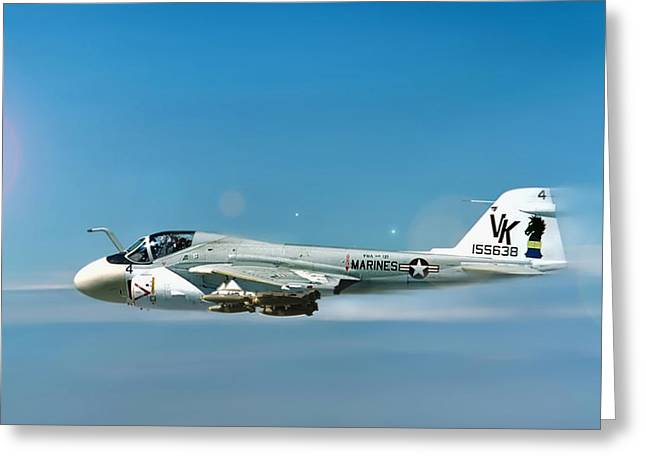 Usmc Greeting Cards - Marine A-6 Intruder Greeting Card by Peter Chilelli
