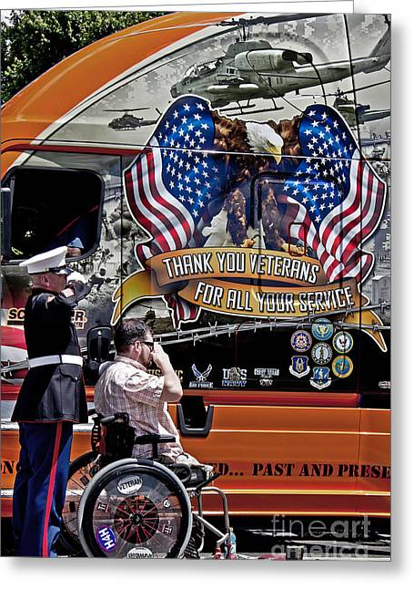 Remembering The Life Greeting Cards - Marine and Wounded Warrior Greeting Card by Tom Gari Gallery-Three-Photography