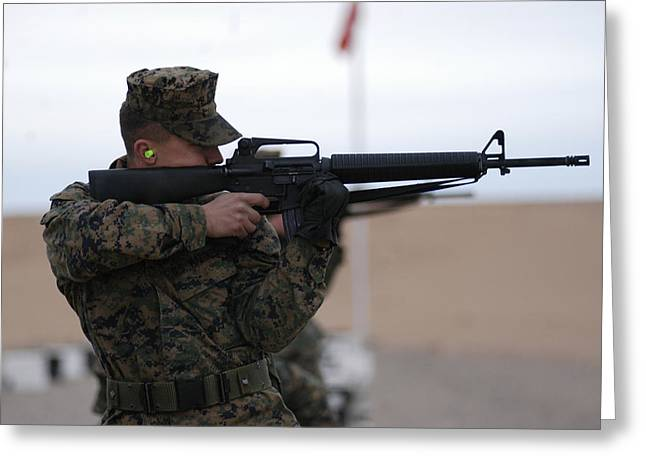 Marine Greeting Cards - Marine Corps Rifle Range Greeting Card by Annette Redman