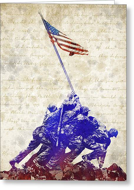 Arlington Mixed Media Greeting Cards - Marine Corps War Memorial Greeting Card by Aged Pixel