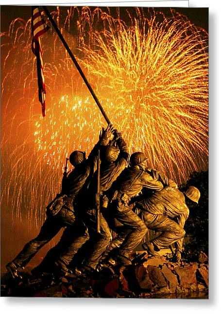 4th July Digital Art Greeting Cards - Marine Corps War Memorial Greeting Card by Government Photographer