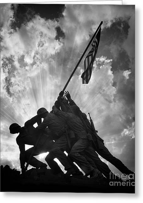 Sunset Framed Prints Greeting Cards - Marine Corps War Memorial Greeting Card by Jerry Fornarotto