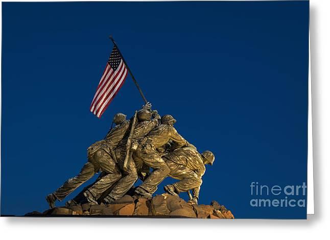 Semper Fi Greeting Cards - Marine Corps War Memorial Greeting Card by John Greim